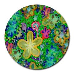Beautiful Flower Power Batik 8  Mouse Pad (round) by rokinronda