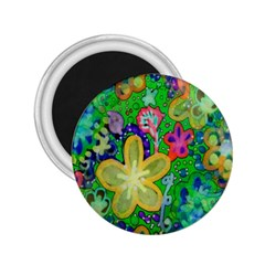 Beautiful Flower Power Batik 2 25  Button Magnet by rokinronda