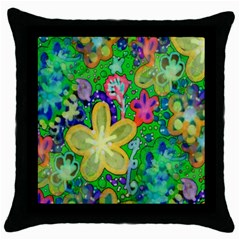 Beautiful Flower Power Batik Black Throw Pillow Case by rokinronda