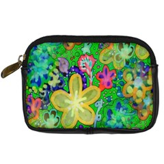 Beautiful Flower Power Batik Digital Camera Leather Case by rokinronda