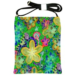 Beautiful Flower Power Batik Shoulder Sling Bag by rokinronda