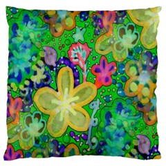 Beautiful Flower Power Batik Large Cushion Case (two Sided)  by rokinronda