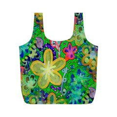 Beautiful Flower Power Batik Reusable Bag (m) by rokinronda