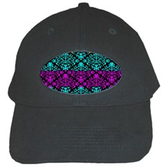 Cmyk Damask Flourish Pattern Black Baseball Cap