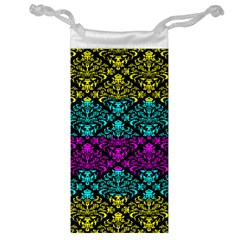 Cmyk Damask Flourish Pattern Jewelry Bag by DDesigns