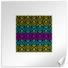 Cmyk Damask Flourish Pattern Canvas 12  X 12  (unframed) by DDesigns