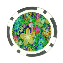 Beautiful Flower Power Batik Poker Chip