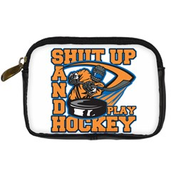 Shut Up And Play Hockey Digital Camera Leather Case by MegaSportsFan