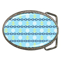 Anchors & Boat Wheels Belt Buckle (oval) by StuffOrSomething