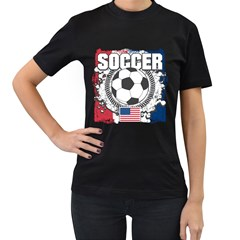 Soccer United States Of America Women s T Shirt (black) by MegaSportsFan
