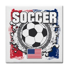 Soccer United States Of America Tile Coaster by MegaSportsFan