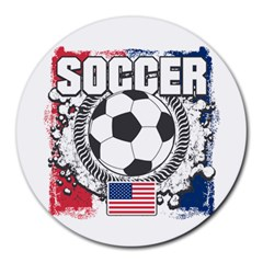 Soccer United States Of America Round Mousepad by MegaSportsFan