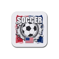 Soccer United States Of America Rubber Square Coaster (4 Pack) by MegaSportsFan