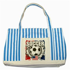 Soccer United States Of America Striped Blue Tote Bag by MegaSportsFan