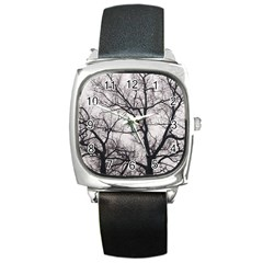 Tree Square Leather Watch by DmitrysTravels