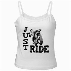 Black Just Ride Motorcycles White Spaghetti Tank
