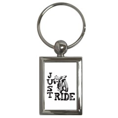 Black Just Ride Motorcycles Key Chain (rectangle) by creationsbytom