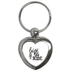 Black Just Ride Motorcycles Key Chain (heart) by creationsbytom
