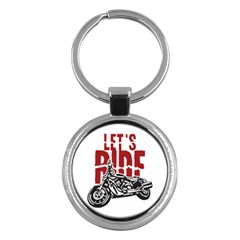 Red Text Let s Ride Motorcycle Key Chain (round) by creationsbytom