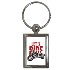 Red Text Let s Ride Motorcycle Key Chain (rectangle) by creationsbytom