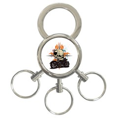 Skull Classic Motorcycle 3 Ring Key Chain by creationsbytom