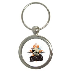 Skull Classic Motorcycle Key Chain (round) by creationsbytom