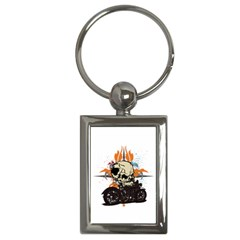 Skull Classic Motorcycle Key Chain (rectangle) by creationsbytom