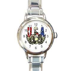 Usa Classic Motorcycle Skull Wings Round Italian Charm Watch by creationsbytom
