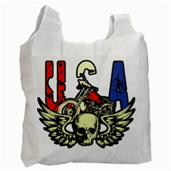 Usa Classic Motorcycle Skull Wings Recycle Bag (one Side) by creationsbytom