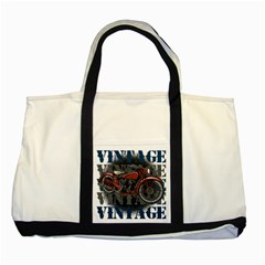 Vintage Motorcycle Multiple Text Shadows Two Tone Tote Bag