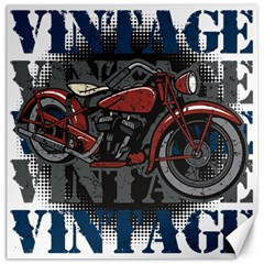 Vintage Motorcycle Multiple Text Shadows Canvas 16  X 16