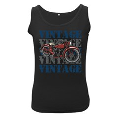 Vintage Motorcycle Multiple Text Shadows Women s Black Tank Top