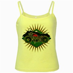 Classic Vintage Motorcycle Yellow Spaghetti Tank by creationsbytom
