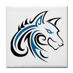 Blue And Black Wolf Head Outline Facing Right Side Tile Coaster by WildThings