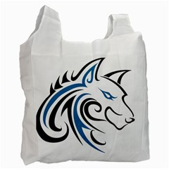Blue And Black Wolf Head Outline Facing Right Side Recycle Bag (one Side)