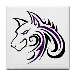 Purple And Black Wolf Head Outline Facing Left Side Tile Coaster by WildThings