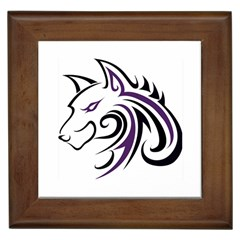 Purple And Black Wolf Head Outline Facing Left Side Framed Tile by WildThings