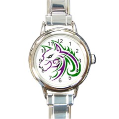 Purple And Green Wolf Head Outline Facing Left Side Round Italian Charm Watch by WildThings
