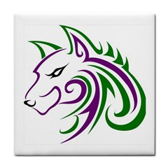 Purple And Green Wolf Head Outline Facing Left Side Tile Coaster by WildThings