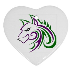 Purple And Green Wolf Head Outline Facing Left Side Ornament (heart) by WildThings