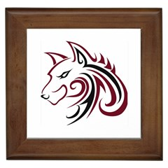 Maroon And Black Wolf Head Outline Facing Left Side Framed Tile by WildThings