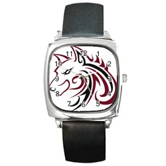 Maroon And Black Wolf Head Outline Facing Left Side Square Metal Watch by WildThings