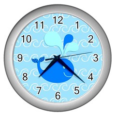 Playing In The Waves Wall Clock (silver)