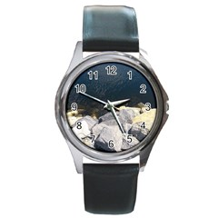 Atlantic Ocean Round Leather Watch (silver Rim) by DmitrysTravels