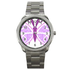 Whimsical Awareness Butterfly Sport Metal Watch