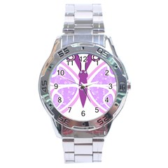 Whimsical Awareness Butterfly Stainless Steel Watch by FunWithFibro