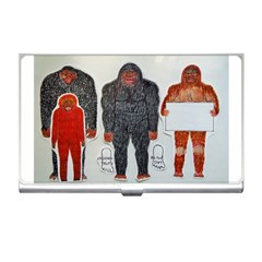 1 Neanderthal & 3 Big Foot,on White, Business Card Holder by creationtruth