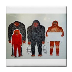 1 Neanderthal & 3 Big Foot,on White, Ceramic Tile by creationtruth