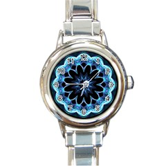 Crystal Star, Abstract Glowing Blue Mandala Round Italian Charm Watch by DianeClancy