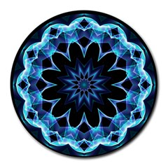 Crystal Star, Abstract Glowing Blue Mandala 8  Mouse Pad (round) by DianeClancy
